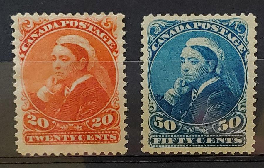 Canada #46-47 F/VF Mint 1893 Widow Weed duo, 20c HHR