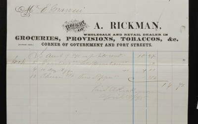 Victoria, B.C. 31 Mar 1875 A. Rickman Invoice to E. Marvin ex Wellburn