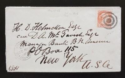 Victoria, B.C. 27 Au 1883 3c SQ Helmcken Cover N.Y. ex Wellburn