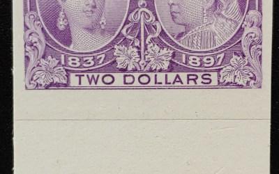 Canada #62P VF 1897 $2 QV Jubilee bottom margin Plate Proof