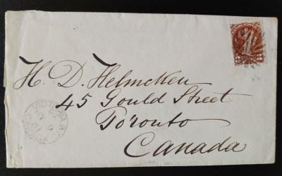 Victoria, B.C.1881 3c SQ Fancy Leaf Helmcken Cover, ex Wellburn