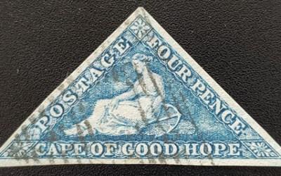 Cape of Good Hope #13b VF Used 1863 4d Steel Blue w/ Brandon Cert.