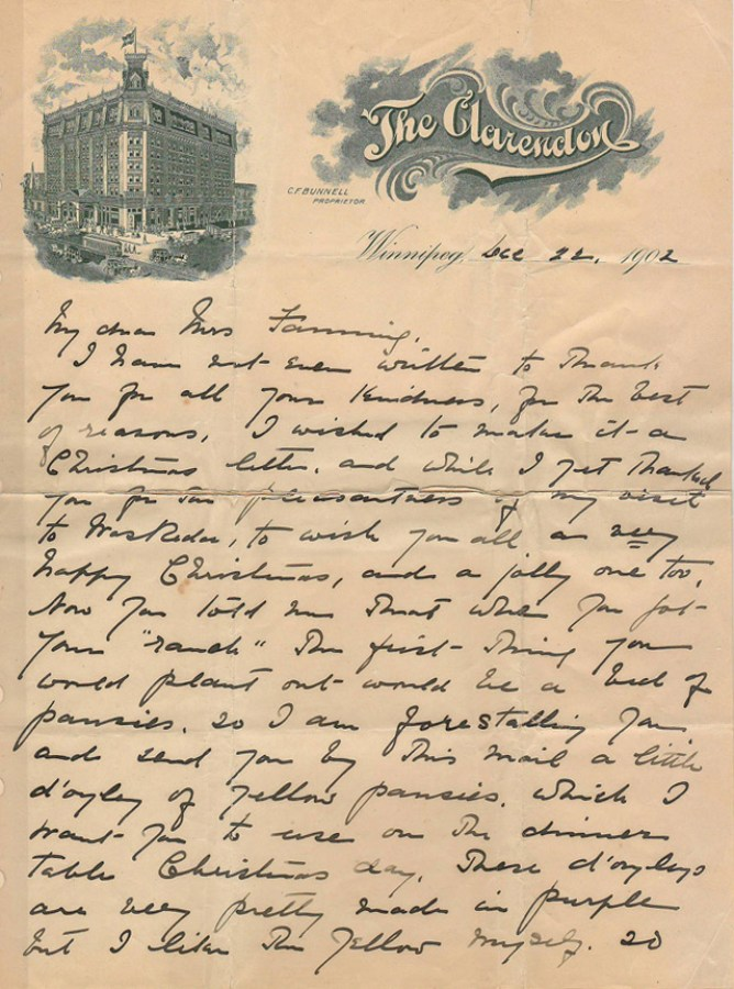 Page 1 of Pauline Johnson letter
