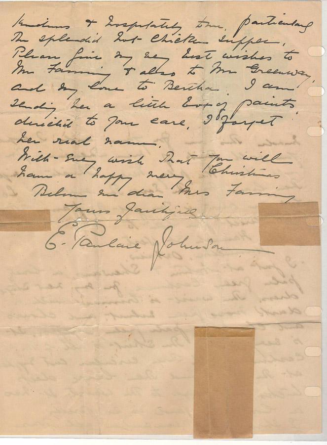 Last page of Pauline Johnson letter