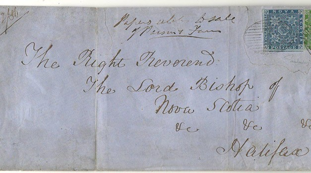 Nova Scotia #2, 4 1856 9d Double Weight Cover to Bishop, repaired