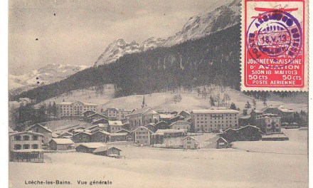 Switzerland AAMC#13 18 May 1913 50c Aviation Label on Postcard