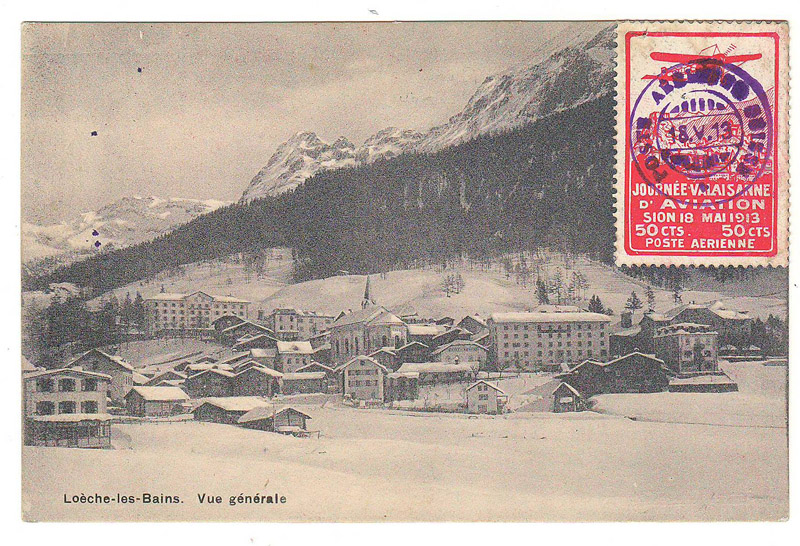 front of postcard with aviation label