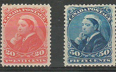 Canada #46-47 Fine+ Mint HR 1893 20c & 50c Widow Weed duo