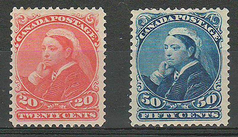 Canada #46-47 Fine+ Mint HR 1893 20c & 50c Widow Weed duo