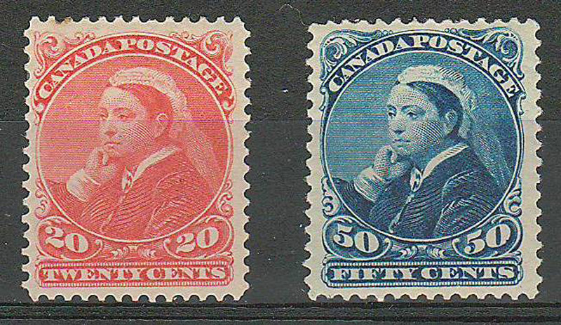 two stamps in stockbook