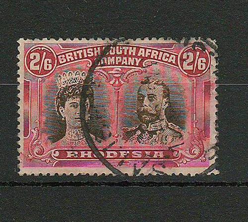 Rhodesia #113 2/6d Bistre Brown & Crimson Double Head