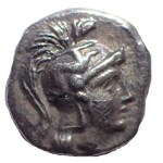 Calabria, Tarentum 380-325 BC 11mm 1gm Silver Diobol w/ Athena / Heracles slaying the Nemean Lion