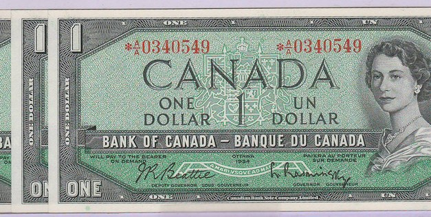 Canada #BC37aA consecutive Gem Unc 1954 Replacement $1 trio