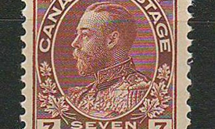 34Canada #114v F/VF Never Hinged 7c Diagonal Line in Cents Variety