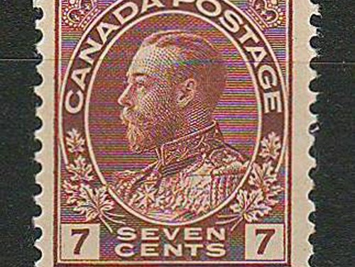 34	Canada #114v F/VF Never Hinged 7c Diagonal Line in Cents Variety
