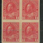 Canada #138 1924 3c Admiral Imperforate Block (4)
