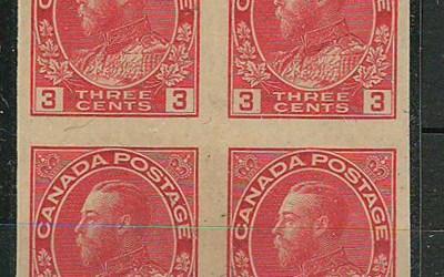 Canada #138 1924 3c Admiral Imperforate Block (4)