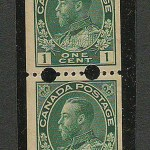 Canada #131iv F/VF Never Hinged 1918 1c Experimental Coil Pair