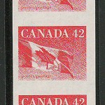 Canada #1394a 1991 42c Flag Imperf Coil Strip (3)