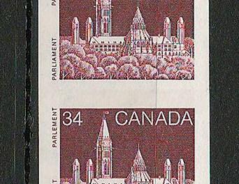 Canada #952a VFNH 1985 34c Parliament Imperf Coil Start Strip (4)
