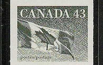 Canada #1395a 1992 43c Flag Imperforate Strip (3)