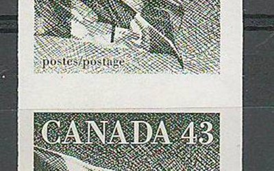 Canada #1395a 1992 43c Flag Imperforate Coil Pair