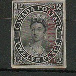 Canada #3Pi F/VF 1851 12d Black Specimen Proof