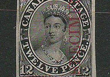 Canada #3Pi F/VF 1851 12d Black Specimen Proof