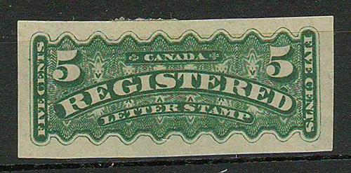 Canada #F2c 1876 5c Imperforate RLS gum thins