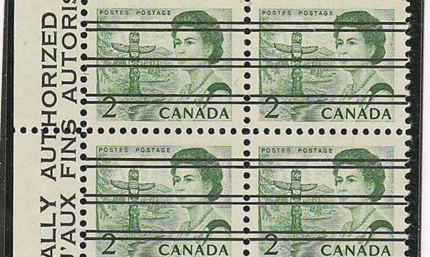 Canada #455xx 1967 2c Centennial Precancel Block (4)