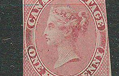 Canada #8 Unused 1857 1d Rose