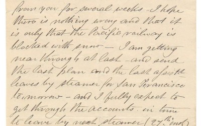Victoria, B.C. 10 Feb 1873 3 sides Marcus Smith letter to his wife