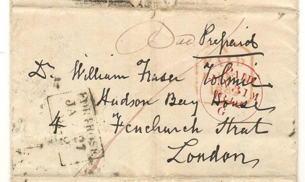 Hugh Fraser 1842 Scotland FLS to William Fraser Tolmie HBC London