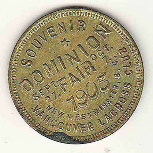 Province of B.C. BU Souvenir of 1905 Dominion Fair Medallion