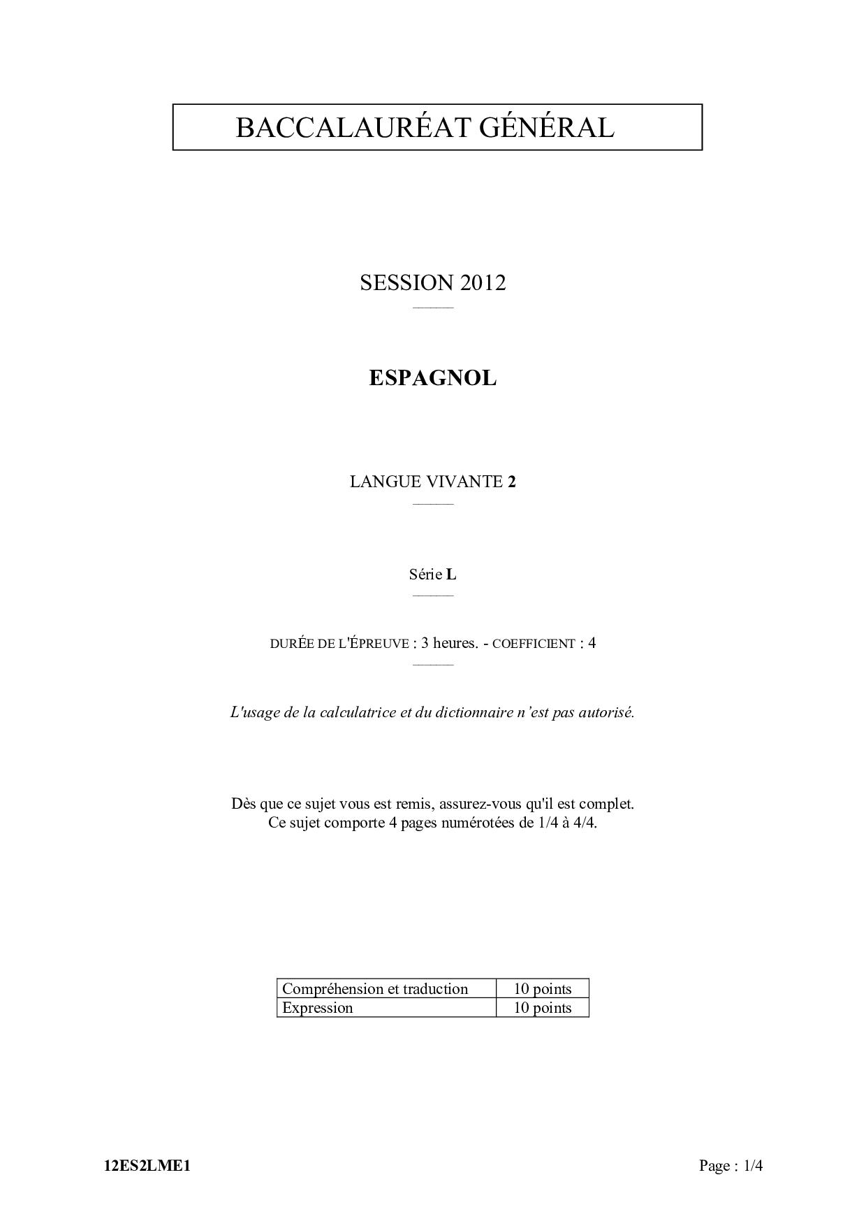 Bac L Espagnol Lv2 Metropole
