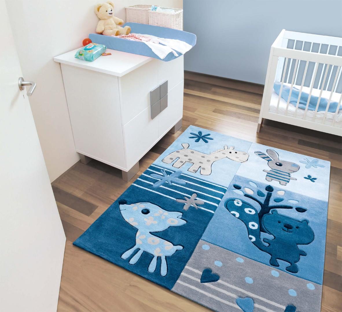 tapis bleu chambre bebe enredada