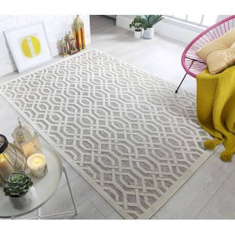 tapis beige scandinave geometrique pour salon mondo
