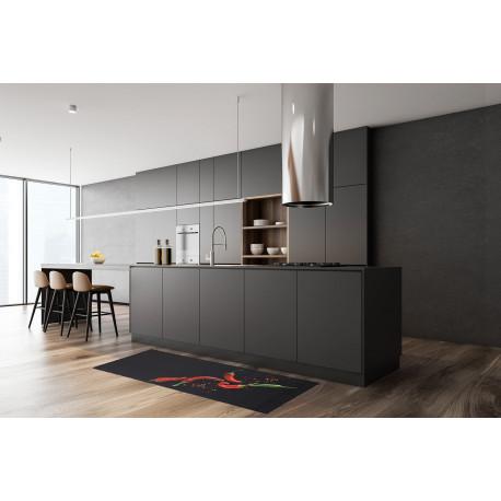 tapis de cuisine noir en pvc design piment giffnock