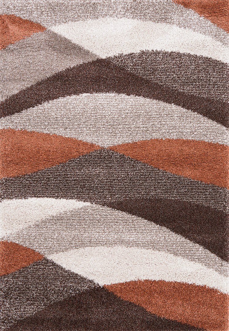 tapis beige et cuivre aux longs velours stamp