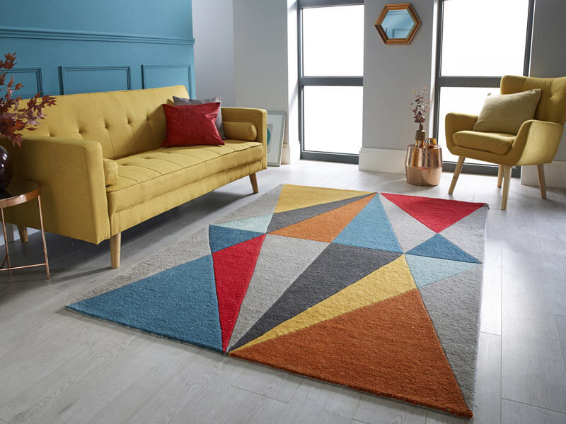 tapis scandinave multicolore