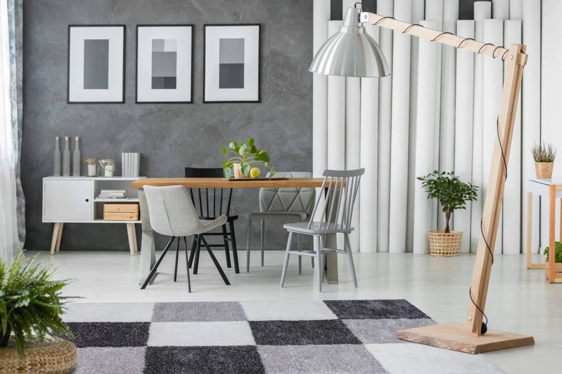 tapis shaggy géométrique