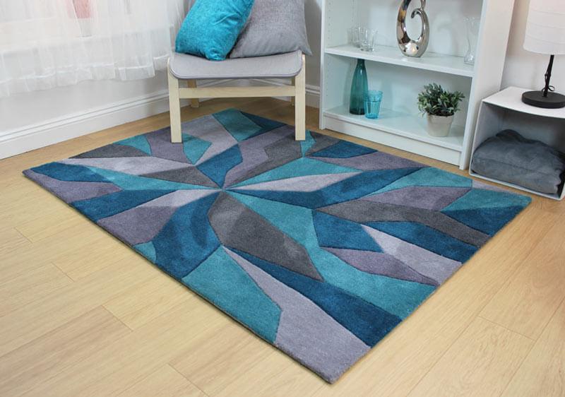 tapis design bleu canard