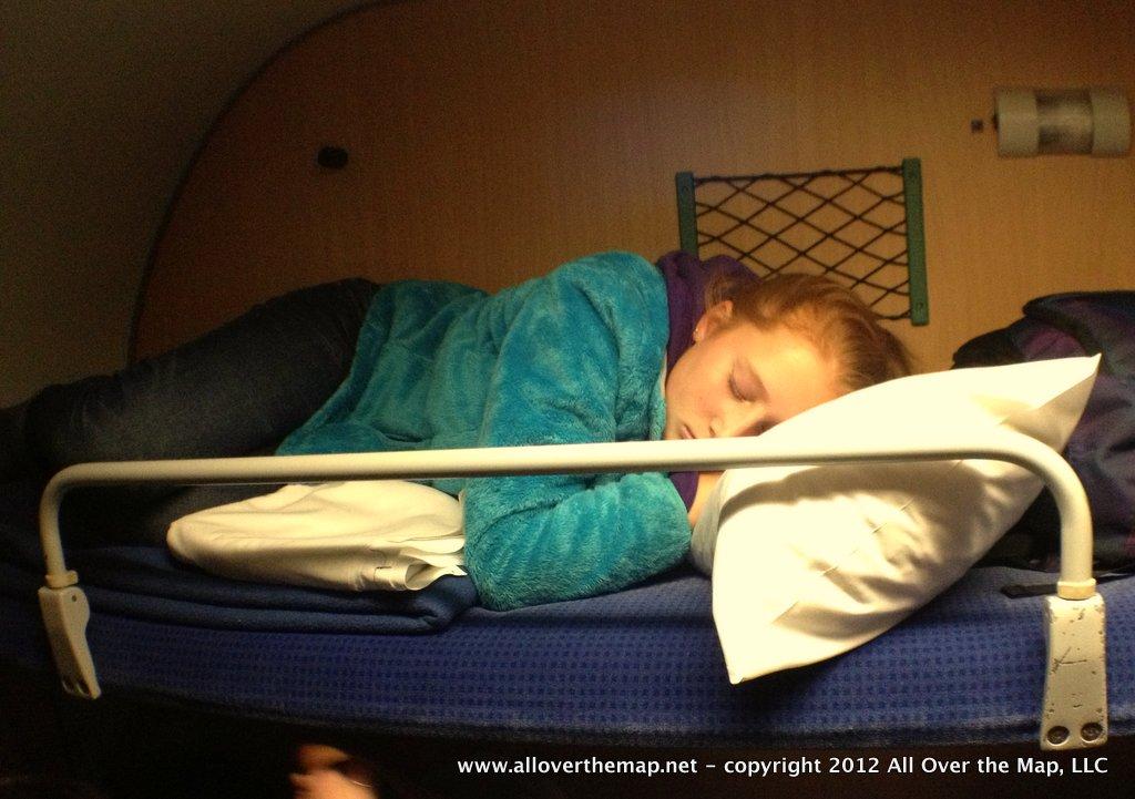 Sleeping on the night train to Berlin.