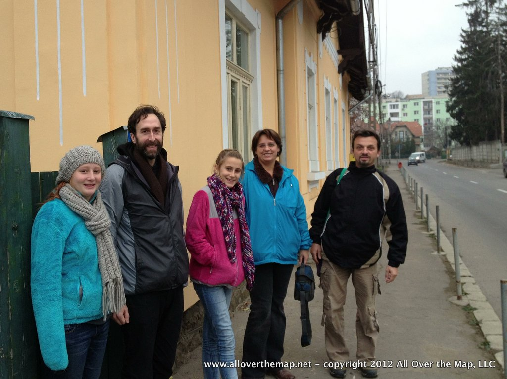 With our Couchsurfing hosts in Romania on our Eurail with kids adventure