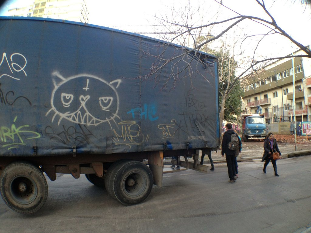 aerosol cat and tags on a big truck