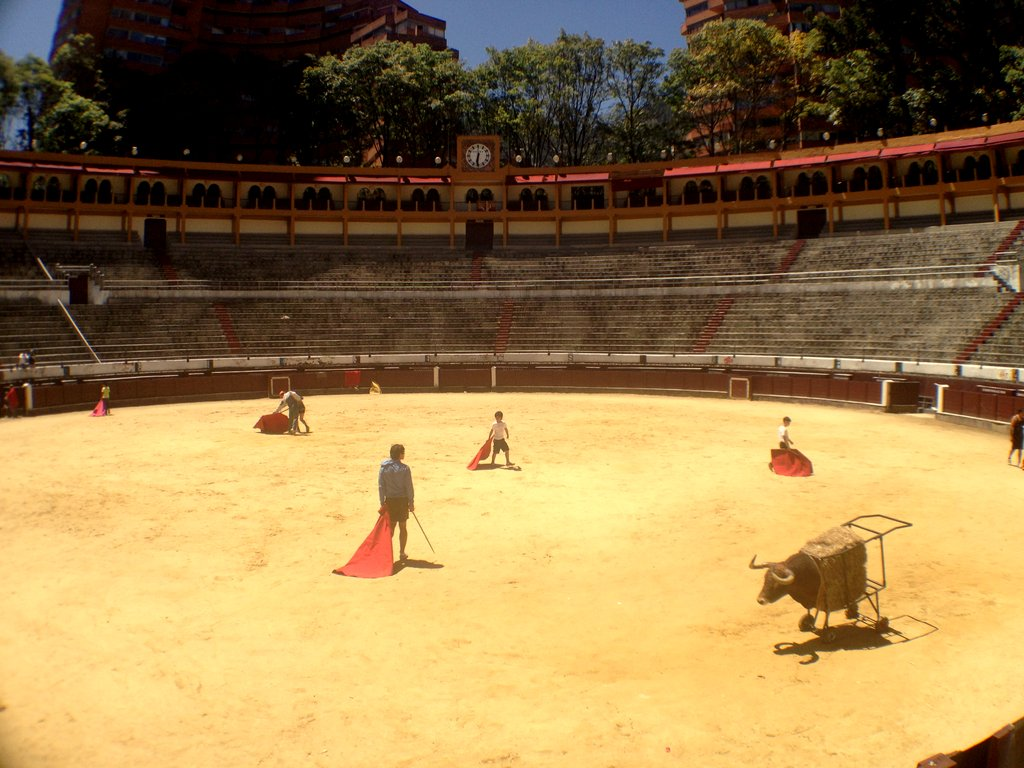 Toreros-in-training at the Santamaria Bullring in Bogota