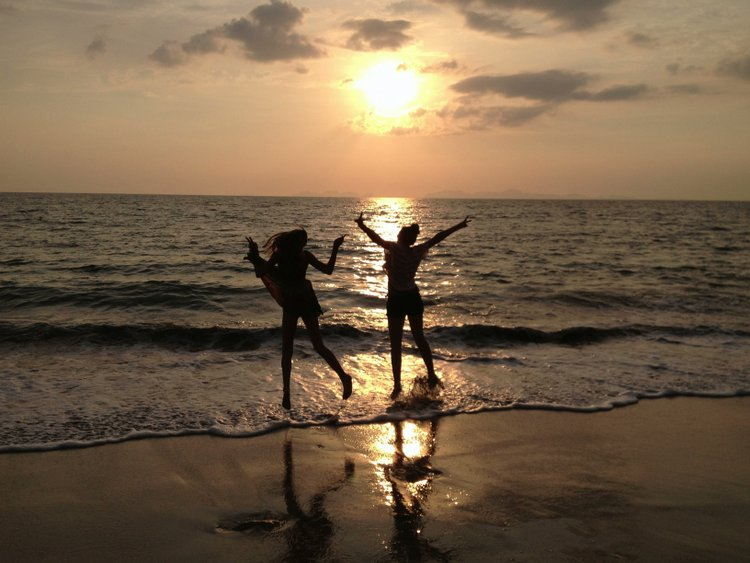 Frolicking in the Andaman Sea in Thailand