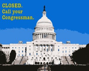 """The U.S. Capitol showing the words """"Closed. Call your Congressman."""" A list of family activities in DC that are open"""