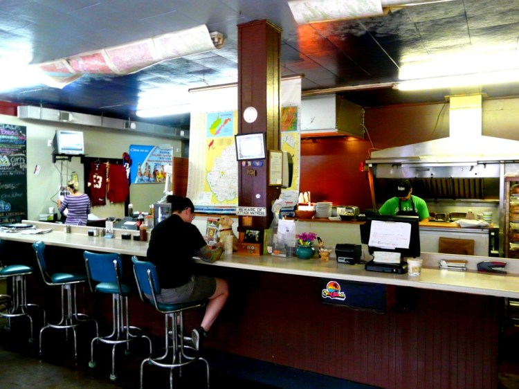 The lunch counter at the Earth Dog in Berkeley Springs, WV