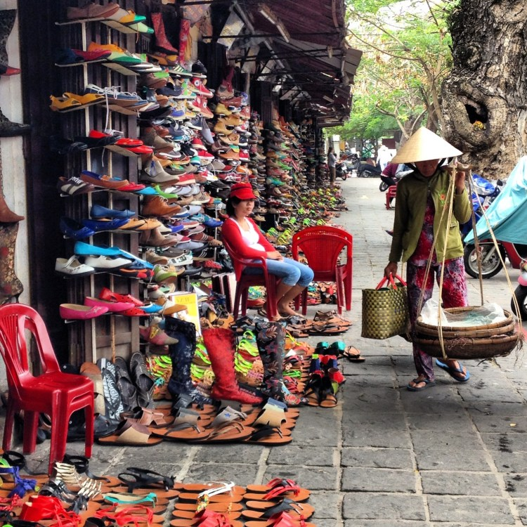 Shops upon shops full of custom-made shoes in Hoi An, Vietnam